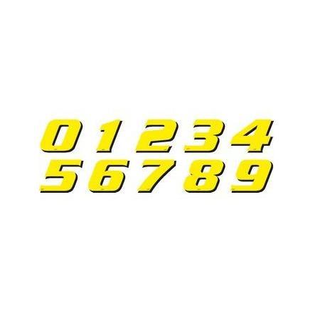 PR09.065-8 Déco moto NUMERO 8 DE COULEUR Jaune Format : 115mm OneDesign Stickers