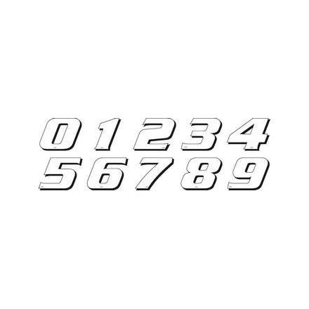 PR09.075-3 Déco moto NUMERO 3 DE COULEUR Blanc Format : 115mm OneDesign Stickers