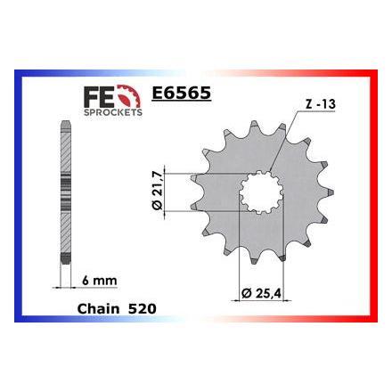 7605.E6565.17 Pignon sortie de boite Yamaha YFZ.450 '04/09 17 520 Pignon FRANCE EQUIPEMENT