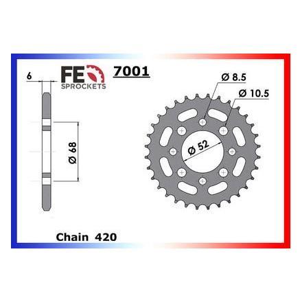 0402.7001.52 Couronne acier FE Suzuki ER21APX/ZR50S.L-TSX50 '91/93 52 420 Couronne arrière de transmission FRANCE EQUIPEMENT