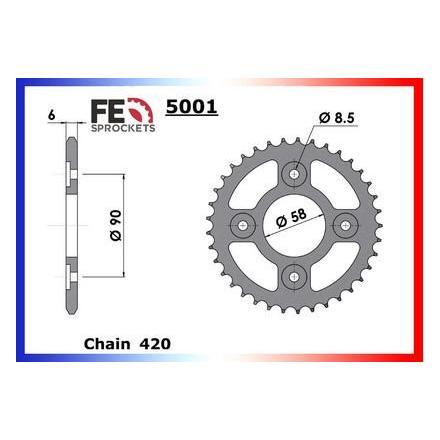 0506.5001.39 Couronne acier FE Honda 110i Wave '12/13 39 420 Kit chaine FRANCE EQUIPEMENT