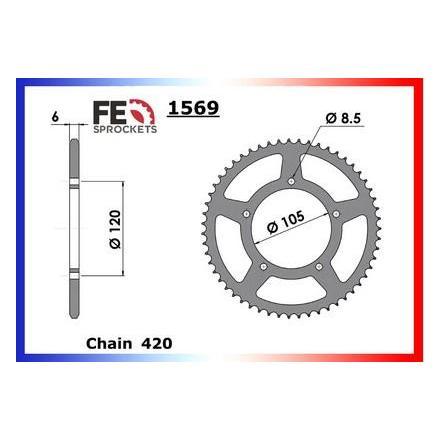 1003.1569.50 Couronne acier FE KEEWAY 50.X-RAY T/SM '06/08 50 420 Couronne arrière de transmission FRANCE EQUIPEMENT