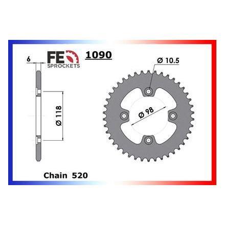 1006.1090.38 Couronne acier FE CAN-AM 450.DS QUAD '07/08 38 520 FRANCE EQUIPEMENT Couronne arrière de transmission