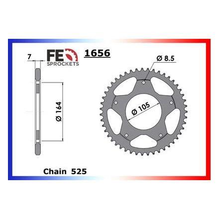 2370.1656.47 Couronne acier FE Gilera GP.800 '08 47 525 Kit chaine FRANCE EQUIPEMENT