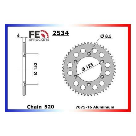 3610.2534.511 Couronne alu FE Béta 250/300.RR (2T) '13 51 520 Couronne arrière de transmission FRANCE EQUIPEMENT