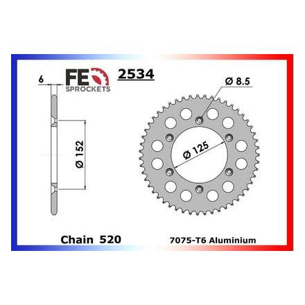 3610.2534.521 Couronne alu FE Béta 250/300.RR (2T) '13 52 520 Couronne arrière de transmission FRANCE EQUIPEMENT