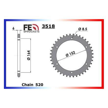 3640.3518.44 Couronne acier FE Yamaha YFS 200 BLASTER '89/04 44 Couronne arrière de transmission FRANCE EQUIPEMENT