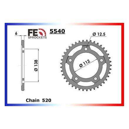 9020.5540.43 Couronne acier FE Honda NC.700/750 '12/14 43 520 Kit chaine FRANCE EQUIPEMENT