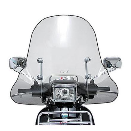 33184 PARE BRISE MAXISCOOTER POUR PIAGGIO 125 VESPA S 2007> TRANSPARENT FIXATION CHROME (H 505mm - L 720mm)  -FACO- xxx Info FAC