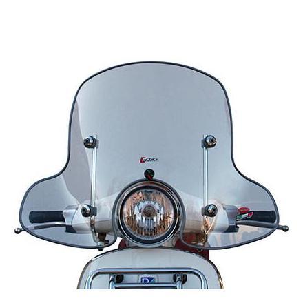 33173 PARE BRISE MAXISCOOTER POUR PIAGGIO 125 VESPA PRIMAVERA 2014> TRANSPARENT FIXATION CHROME (H 505mm - L 730mm)  -FACO- xxx
