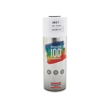 149894 BOMBE DE PEINTURE AREXONS ACRYLIQUE 100 NOIR BRILLANT spray 400 ml (3621) xxx Info