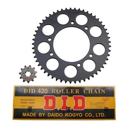 11992 KIT CHAINE ADAPTABLE DERBI 50 SENDA DRD RACING 2006>2011-BULTACO 50 ASTRO, LOBITO 1999>2002 420 11x53 (ALESAGE 102mm) (D