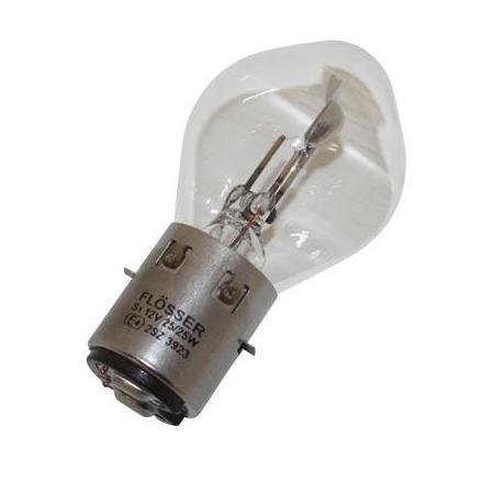 21126 AMPOULE-LAMPE 12V 25-25W NORME S2 CULOT BA20D STANDARD BLANC (PROJECTEUR) (VENDU A L'UNITE) -FLOSSER- xxx Info FLOSSER