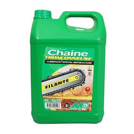 28850 HUILE DE CHAINE TRONCONNEUSE MINERVA FILANTE (5L) (100% MADE IN FRANCE) xxx Info MINERVA OIL