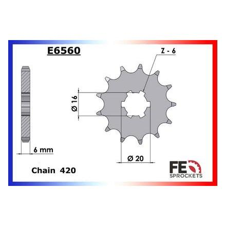 0402.E560.16 Pignon sortie de boite Yamaha CHAPPY 50'80/93 16 420 Pignons FRANCE EQUIPEMENT