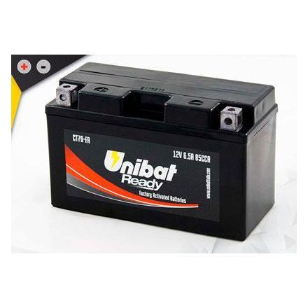 UCT7B-FA Batterie Unibat CT7B-FA - Scellés en Usine. (YT7B-BS / YT7BBS / BT7B-4 / BT7B4 / CT7B4 / 7B4) LxlxH : 150x65x93 [ + -