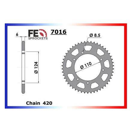 0408.7016.50 Couronne acier FE Suzuki RMX.50 '98/03 50 420 Couronne arrière de transmission FRANCE EQUIPEMENT