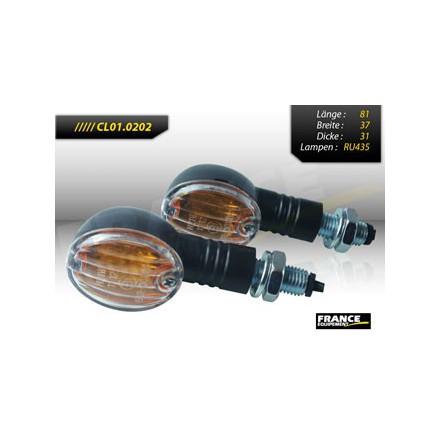 CL01.0202 Clignotants Noir CE (la paire) FRANCE EQUIPEMENT Clignotant complet