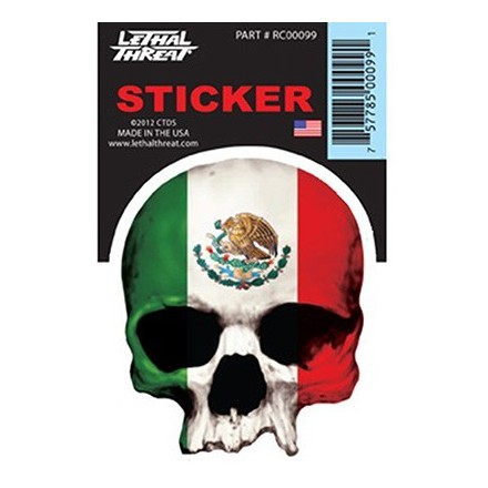 Autocollant LETHAL THREAT MEXICAN SKULL (7x11cm) (RC00099)