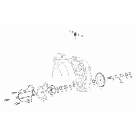 Ecroue de turbine de pompe à eau Derbi Euro3 (D50B0) SM/R X-Trème, DRD Racing, DRD Pro / GILERA 50 SMT, RCR / APRILIA 50 SX, RX