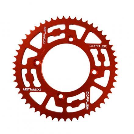 Couronne alu DOPPLER Rouge pour Béta 50 Factory RR MOTARD '05/11 SM 05/11 pas 420 53 DTS, Diam. 100, fixation 4 trous