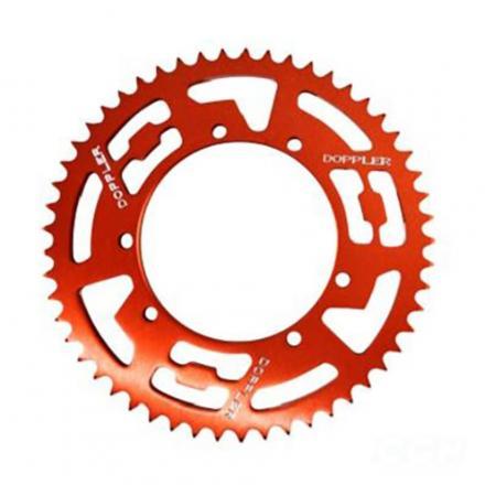 Couronne alu DOPPLER Rouge pour Sherco Enduro / SM pas 428 53 DTS, Diam. 110, fixation 6 trous (3X2)