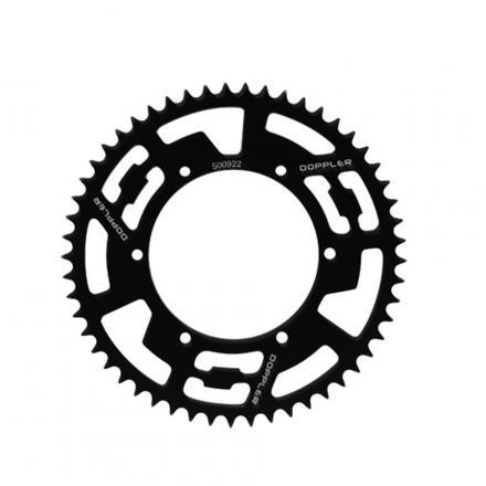 Couronne alu DOPPLER Noir pour Derbi DRD, GPR, X-Treme Aprilia RS, RS4 pas 420 53 DTS, Diam. 108, fix. 6 trous (roue baton)