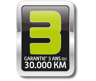 Service + : GARANTIE 3 ans ou 30 000 km depuis le 18 janvier 2016. Extension de garantie 12 mois soumise à restrictions, consultez votre Distributeur Agréé.