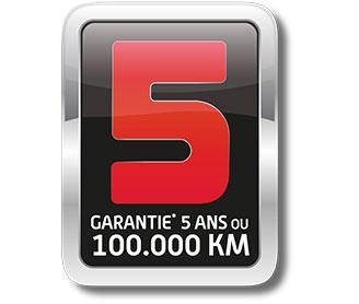 Service + : GARANTIE 5 ans ou 100 000 km . Extension de garantie 36 mois soumise à restrictions, consultez votre Distributeur Agréé.