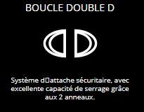 BOUCLE DOUBLE D - Système d'attache sécuritaire, avec excellente capacité de serrage grâce aux 2 anneaux.