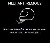 FILET ANTI-REMOUS - Filet amovible évitant les remontées d'air froid sur le visage.