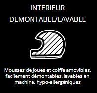 INTERIEUR DEMONTABLE/LAVABLE - Mousses de joues et coiffe amovibles, facilement démontables, lavables en machine, hypo-allergéniques