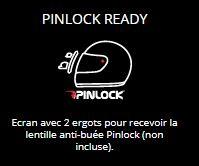 PINLOCK READY - Ecran avec 2 ergots pour recevoir la lentille anti-buée Pinlock (non incluse).